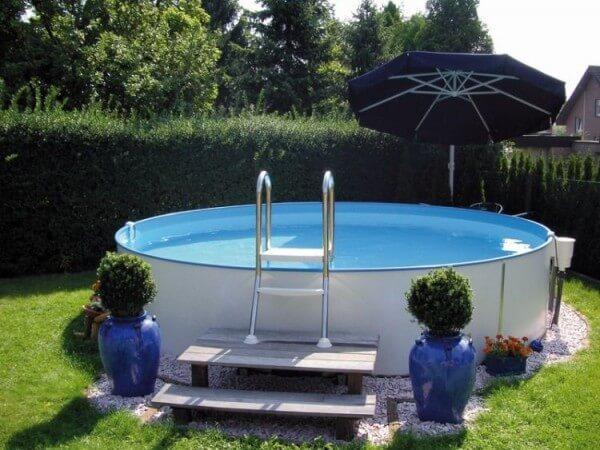 Aufstell-Rundbecken-Set Milano 135 cm tief 0,6 mm