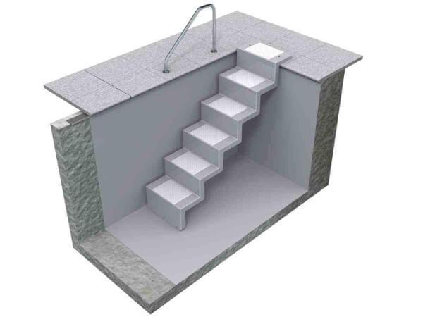 Pooltreppe Eleganz 60 U granit mit silbergrauen Stufen