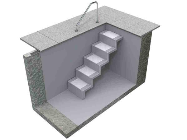 Pooltreppe Eleganz 60 U kurz silbergrau mit weissen Stufen