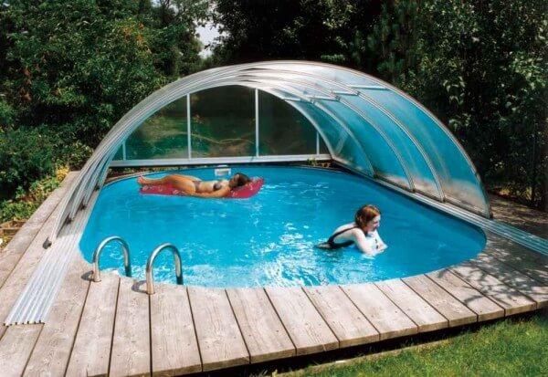 Schwimmbadüberdachung Sun Roof Classic 633 x 363 x 110 cm