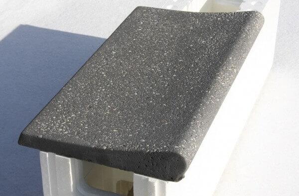 Beckenrandsteine Welle dunkelgrau auf Styroporstein