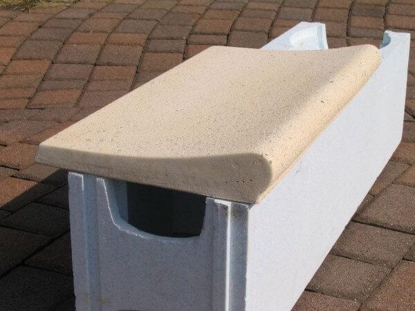 Beckenrandsteine für Rechteckbecken mit römischer Treppe sandfarben Welle